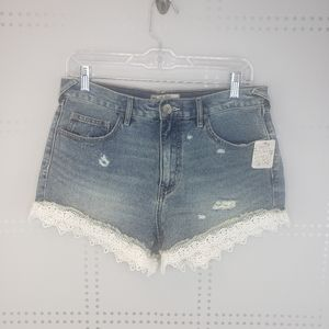 NWT Free People Lace Trim Denim Shorts